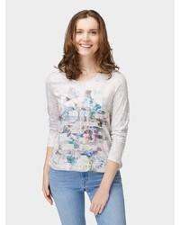 hellbeige bedrucktes Langarmshirt von Bonita