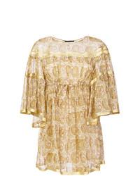 hellbeige bedrucktes schwingendes Kleid von Twin-Set