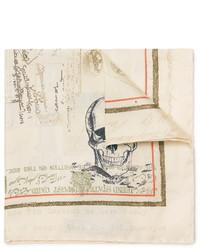 hellbeige bedrucktes Seide Einstecktuch von Alexander McQueen