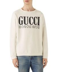 hellbeige bedrucktes Sweatshirt