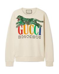 hellbeige bedrucktes Sweatshirt von Gucci