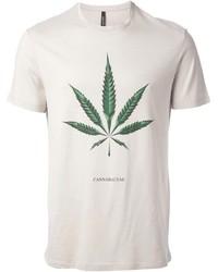 hellbeige bedrucktes T-Shirt mit einem Rundhalsausschnitt