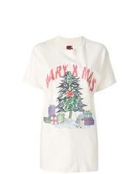 hellbeige bedrucktes T-Shirt mit einem Rundhalsausschnitt von Bad Deal