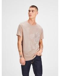 hellbeige bedrucktes T-Shirt mit einem Rundhalsausschnitt von Jack & Jones