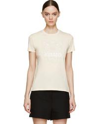 hellbeige bedrucktes T-Shirt mit einem Rundhalsausschnitt von Kenzo