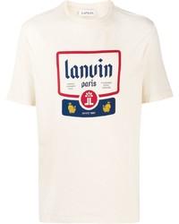 hellbeige bedrucktes T-Shirt mit einem Rundhalsausschnitt von Lanvin