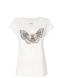 hellbeige bedrucktes T-Shirt mit einem Rundhalsausschnitt von Zadig & Voltaire