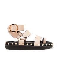 hellbeige beschlagene flache Sandalen aus Leder von Isabel Marant