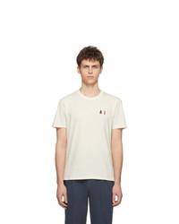hellbeige besticktes T-Shirt mit einem Rundhalsausschnitt von AMI Alexandre Mattiussi