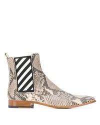 hellbeige Chelsea Boots aus Leder mit Schlangenmuster