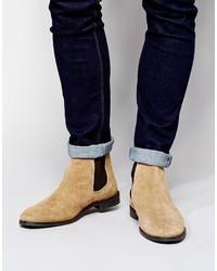 hellbeige Chelsea-Stiefel aus Wildleder von Asos