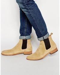 hellbeige Chelsea-Stiefel aus Wildleder
