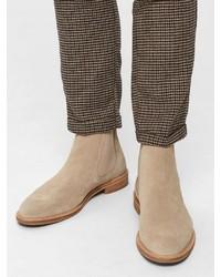 hellbeige Chelsea-Stiefel aus Wildleder von Selected Homme
