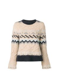 hellbeige Pullover mit einem Rundhalsausschnitt mit Chevron-Muster von See by Chloe
