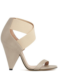 hellbeige elastische Sandaletten
