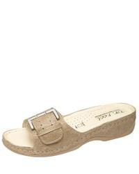 hellbeige flache Sandalen aus Leder von heine home
