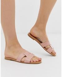 hellbeige flache Sandalen aus Leder von New Look