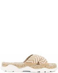 hellbeige flache Sandalen aus Stroh von Stella McCartney