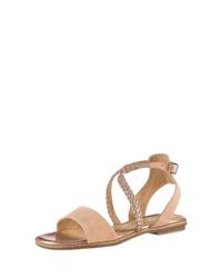 hellbeige flache Sandalen aus Wildleder von s.Oliver