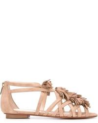hellbeige flache Sandalen aus Wildleder von Santoni