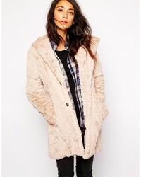 hellbeige flauschiger Mantel