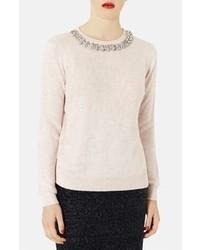 hellbeige flauschiger Pullover mit einem Rundhalsausschnitt