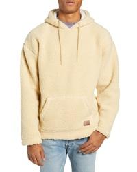 hellbeige Fleece-Pullover mit einem Kapuze