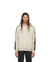 hellbeige Fleece-Pullover mit einem Kapuze von Fendi