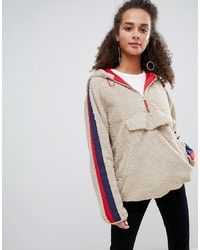 hellbeige Fleece-Pullover mit einem Reißverschluss am Kragen von Bershka