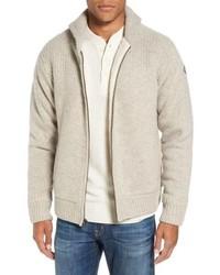 hellbeige Fleece-Pullover mit einem Reißverschluß