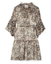 hellbeige gerade geschnittenes Kleid aus Chiffon von See by Chloe