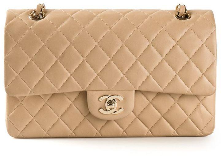 hellbeige gesteppte Leder Clutch von Chanel