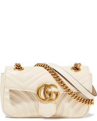 hellbeige gesteppte Leder Umhängetasche von Gucci