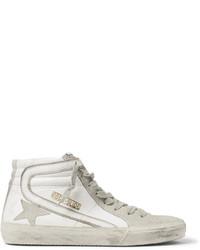 hellbeige hohe Sneakers aus Wildleder