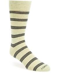 hellbeige horizontal gestreifte Socken