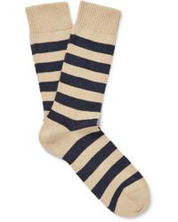 hellbeige horizontal gestreifte Socken von Oliver Spencer