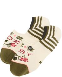hellbeige horizontal gestreifte Socken von Stance