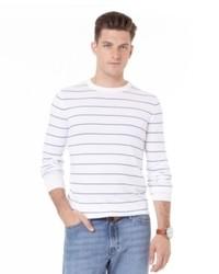 hellbeige horizontal gestreifter Pullover mit einem Rundhalsausschnitt