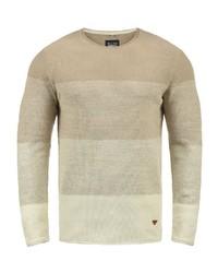 hellbeige horizontal gestreifter Pullover mit einem Rundhalsausschnitt von BLEND