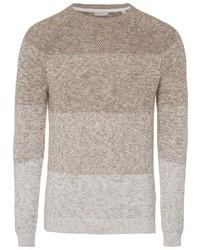 hellbeige horizontal gestreifter Pullover mit einem Rundhalsausschnitt von Esprit