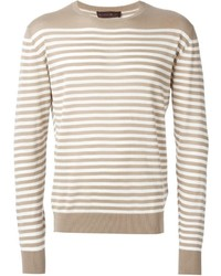 hellbeige horizontal gestreifter Pullover mit einem Rundhalsausschnitt von Etro