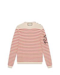 hellbeige horizontal gestreifter Pullover mit einem Rundhalsausschnitt von Gucci