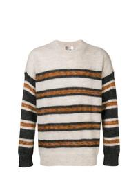 hellbeige horizontal gestreifter Pullover mit einem Rundhalsausschnitt von Isabel Marant