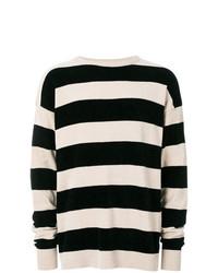 hellbeige horizontal gestreifter Pullover mit einem Rundhalsausschnitt von Laneus