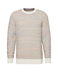 hellbeige horizontal gestreifter Pullover mit einem Rundhalsausschnitt von Marc O'Polo