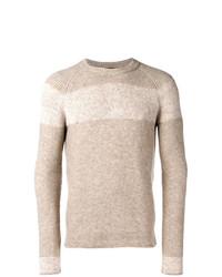 hellbeige horizontal gestreifter Pullover mit einem Rundhalsausschnitt von Roberto Collina