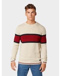 hellbeige horizontal gestreifter Pullover mit einem Rundhalsausschnitt von Tom Tailor Denim