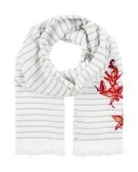 hellbeige horizontal gestreifter Schal von Hugo Boss