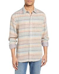 hellbeige horizontal gestreiftes Langarmhemd