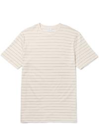 hellbeige horizontal gestreiftes T-Shirt mit einem Rundhalsausschnitt